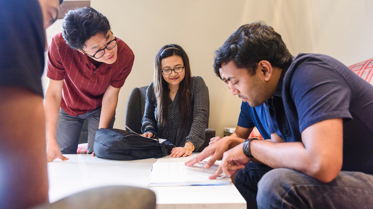 International students studying together in Ferguson Student Center