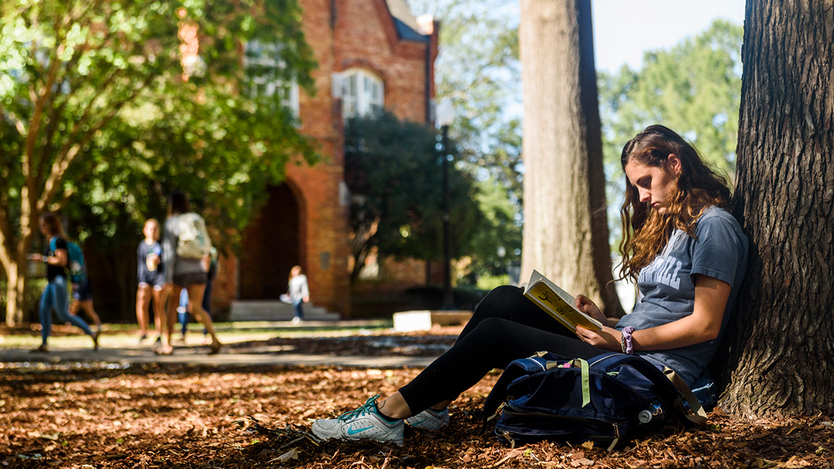 Student studying against a tree on the Quad
