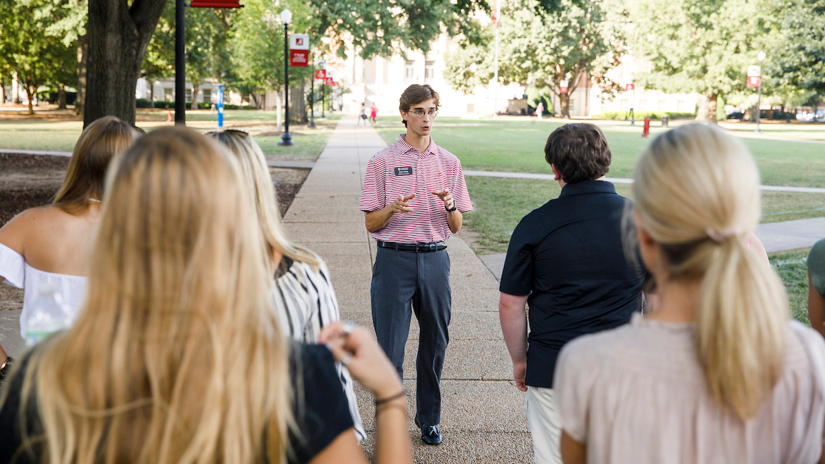 Students and families on campus tour