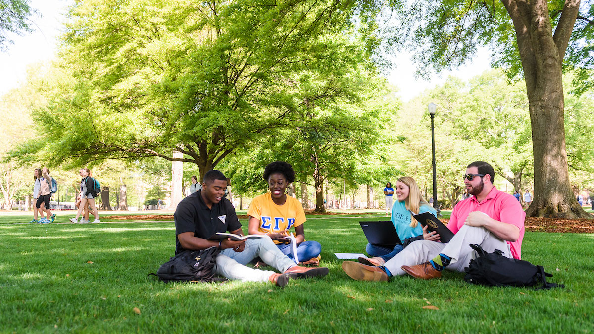 Students talking on the Quad