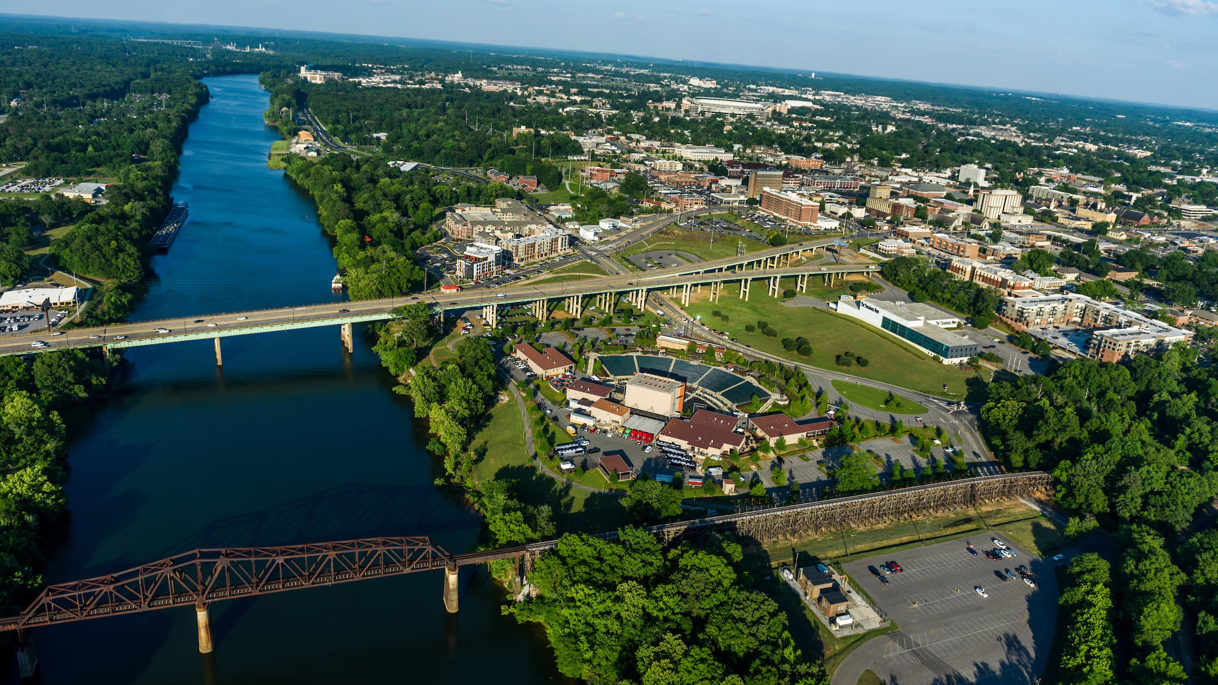 Aerial view of downtown Tuscaloosa and the UA campus